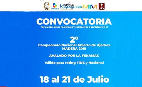 Convocatoria 2do Campeonato Nacional Abierto de Ajedrez en Madera Chihuahua