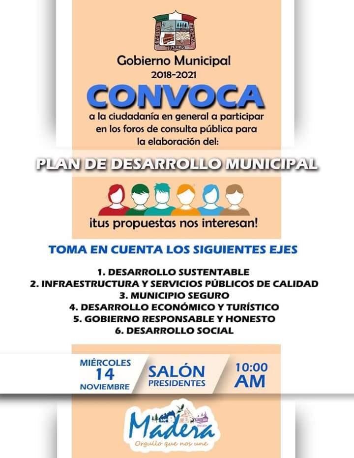 Invitación a Mesas de trabajo para elaboración del Plan de Desarrollo Municipal 2018-2021